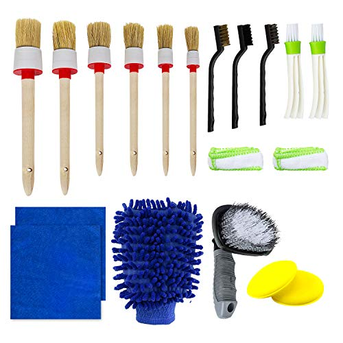 Tonsiki 17 Pieces Car Cleaner Brush Set for Cleaning Car Motorcycle Automotive Cleaning Wheels, Dashboard, Interior, Exterior, Leather, Air Vents