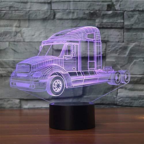 Luz nocturna 3D para niños, camión, tractor, coche, ilusión 3D, con 16 colores cambiantes y control remoto, regalo de cumpleaños para niños y niñas de 6 a 5 4, regalo de Navidad