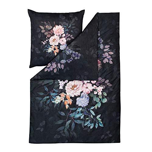 ESTELLA Bettwäsche Flower Dream | Multicolor | 135x200 + 80x80 cm | Mako-Satin mit seidigem Glanz | trocknerfest | atmungsaktiv und anschmiegsam | 100% Baumwolle