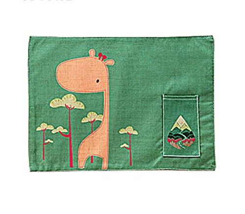 Manteles individuales de algodón con bolsillos lavables para niños de 43 x 33 cm (Deer)