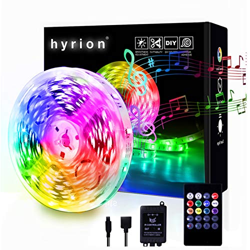 hyrion Led Strip Lights for Bedroom 32.8ft, 5050 RGB Color Changing IR Remote Control with Music Sync Rope Light Strips Indoor Room Decoration-30LEDS in 1 ft
