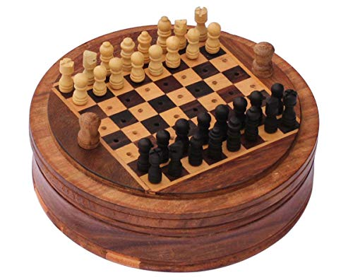 SouvNear Mini Wooden Chess Set With Easy Disposal Mechanism Of Defeated Pieces For Travel Convenience 5 Inch Round Chess Board