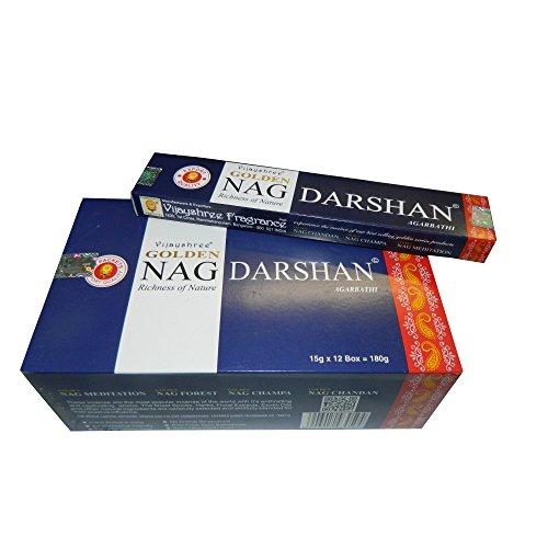 Bastoncini d'incenso 180g Golden Nag Darshan Profumo aromatico Ricchezza della Natura India
