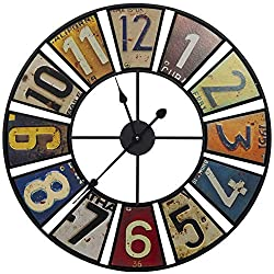 Everly Hart Collection 24 Vintage License Plates Round Wall Clock