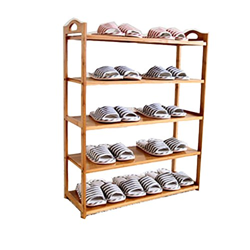 Schoenrek LVZAIXI 5 verdiepingen bamboe badkamer kabinet, planken, planken, geschikt voor hal, badkamer, keuken, woonkamer