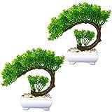 AIVORIUY 2pcs Bonsai Artificial Plantas Falsas Verde Plantas Artificiales en Macetas Bonsai de Árbol Pino Japonés para Decoración de Hogar Pantalla de Escritorio Mesa Casa Oficina Balcón Ventana Salón