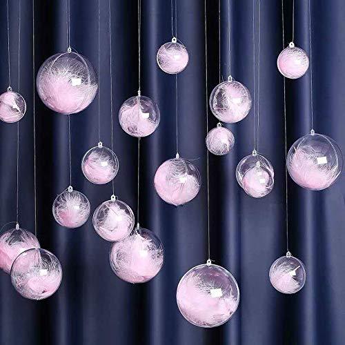 Sziqiqi 20 Pcs Boule de Noël Transparente a Remplir 8 cm Boule en Plastique Boule Fil Decoration Fête Mariage Anniversaire, 20Pcs