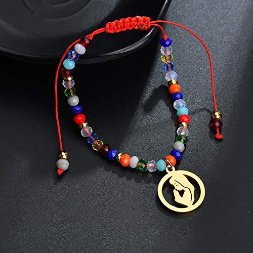 KUANGLANG Accesorios de Moda Religión Pulsera con Colgante de Virgen María de Acero Inoxidable Cuentas de acrílico Pulsera de Mujer de Cuerda roja