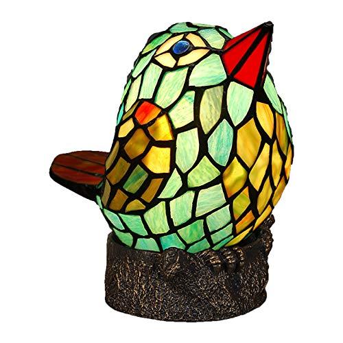 YEHEI Lámpara Tiffany Vidriera Hecha A Mano Bird Table Light Lámpara De Mesita De Noche Vintage Lámpara De Noche para Sala De Estar, Dormitorio, Hotel, Oficina, Bar
