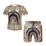 2021 Summer Trendy Camo Shark Bape Hip Hop Outfits 2 Piece Set Short-Sleeved T-Shirt Beach Swim Trunks Suit for Mens Boys Gift-SET01-XX-Large