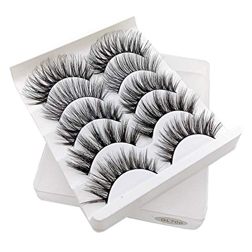 CHENPING Fashion Five Pairs Of False Eyelashes Natural 3D Synthetic Hair/Beauty Makeup Thick Long Eyelashes, Wispy Hair Extension Tool (Color : GL700)