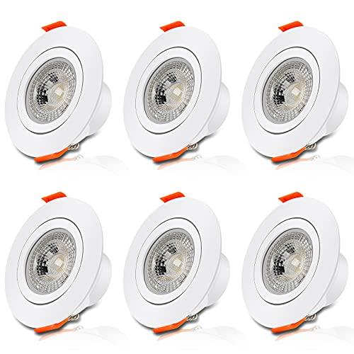 Aialun LED Einbaustrahler flach 230v 6 x 6w Schwenkbar Ultra flach LED Spot Warmweiß IP44 3000K Deckenstrahler Led Dimmbar für Wohnzimmer, Badezimmer, Büro