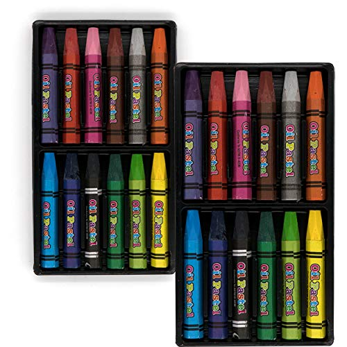 Emraw Jumbo Oil Pastels 24 Color Crayons Oil Paint Sticks Soft Pastels Children Drawing Set Smooth Blending Art Supplies Pastel Pencils for School Color Sticks for Kids and Adults
