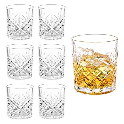 Whiskey Gläser 6er Set, Edles Kristallglas 300ml, Perfekt für Zuhause, Restaurants und Partys, Benutzt für Hausbar/Vitrine, Whiskey Glas zum Verschenken, B