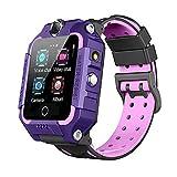 B&H-ERX Smartwatch Impermeabile GPS per Bambini 4G con Chiamata WiFi Video Chat Videocamera Geo-Fence SOS Allarme GPS/LBS Anti-Perso per Ragazzi E Ragazze,Viola