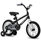 JOYSTAR 14' Pluto Kids Bike with Training Wheels for Ages 3 4 5 Year Old Boys & Girls, Black