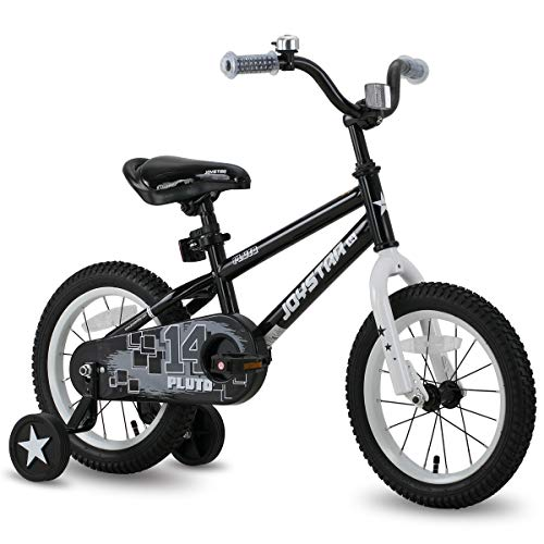 "JOYSTAR 14"" Pluto Kids Bike with Training Wheels for Ages 3 4 5 Year Old Boys & Girls, Black"
