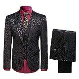 Traje de esmoquin para hombre, ajuste delgado, 3 piezas, moda floral, fiesta, boda, chaqueta de esmoquin chaleco pantalones