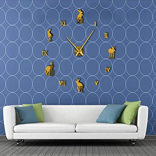 Djkaa haas met Romeinse cijfers knutselen grote wandklok dieren huisdecoratie zonder lijst spiegel kinderen wandklok geschenk (37 inch)