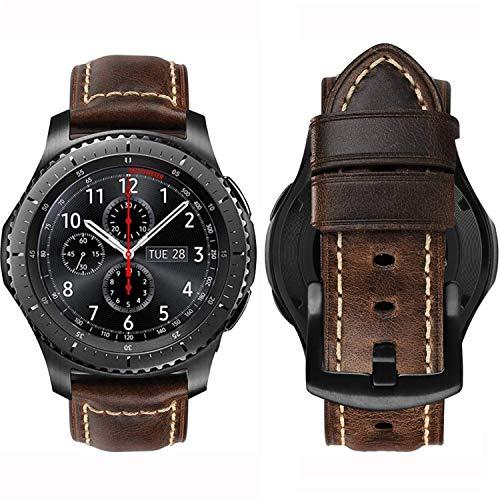 MroTech Cinturino Compatibile con Samsung Galaxy Watch 46 mm/Gear S3 Frontier/Classic Banda 22mm de Ricambio per Huawei Watch GT 46mm/GT2 PRO/GT 2e Bracciale in Pelle 22 mm Cinghie-Texture caffè