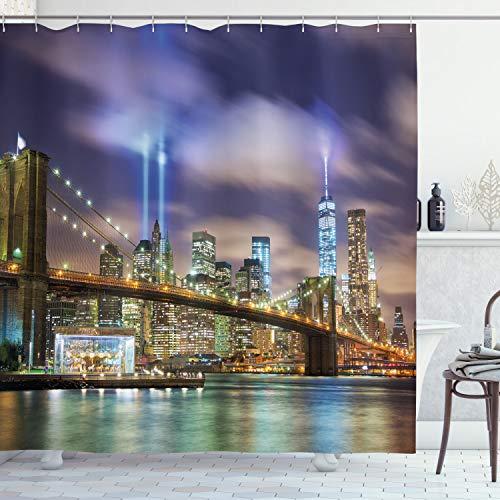 ABAKUHAUS New York Duschvorhang, Manhattan Skyline USA, mit 12 Ringe Set Wasserdicht Stielvoll Modern Farbfest & Schimmel Resistent, 175x240 cm, Lila Grün
