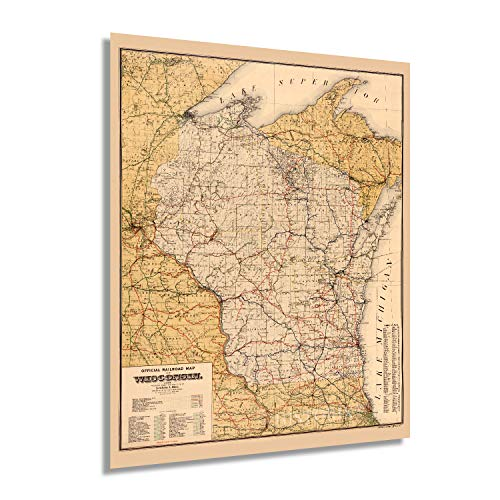 HISTORIX Vintage 1900 Wisconsin Map Poster - 24x30 Inch Vintage Wisconsin Map Wall Art - Old Wisconsin State Map - Historic Wisconsin Wall Map Poster - Railroad Map of Wisconsin (2 Sizes)