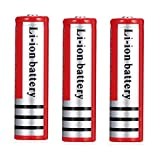 4000mAh capacity 3.7V rechargeable battery, used in daily LED flashlight battery and other products, can be charged 2000 times 18650 battery (2Pack)