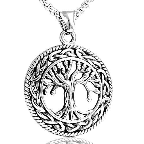 HRZHYHB Collar Colgante de árbol de la Vida de Acero de Tit