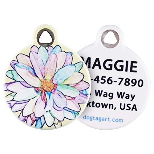 Dog Tag Art Flower Design Pet ID Tag for Dogs and Cats (Large (1.25' Diameter), Sketched Flower)
