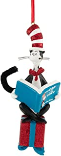 Department 56 Dr. Seuss Cat Reading on Present Ornament, 5 inch