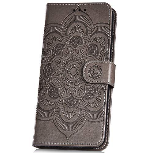 JAWSEU Compatible avec iPhone 7/iPhone 8 Coque Portefeuille PU Étui Cuir à Rabat Magnétique Luxe Mode Soleil Mandala Fleur Motif Ultra Mince Stand Leather PU Flip Wallet Case,gris