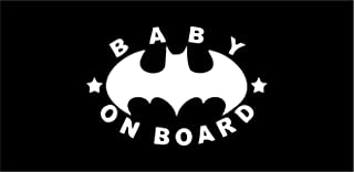 All About Families Batman Baby ON Board ~ V2 ~ White ~ Window Sticker/CAR/Truck/RV/Boat with Alcohol PAD~ Size 4.5