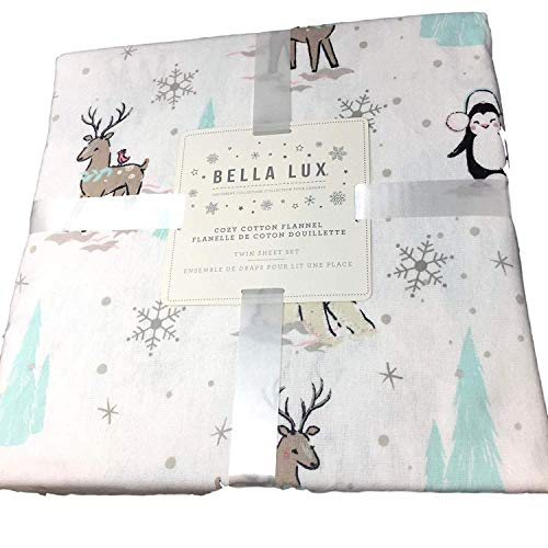 Bella Lux Polar Bear Penguin Deer Christmas Tree Flannel Sheet Set - Queen Size with White Background (All Cotton Flannel) All Cotton Flannel (Animals Celebrating Winter Holiday)