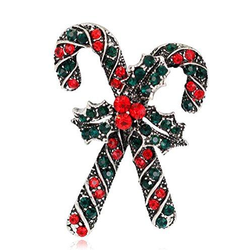 Cosanter Broche de Bastón de navidad, Accesorios de Ropa Sombrero Suéter Bufanda Decoración Halloween Regalo (Plateado) 3 x 4,3 cm