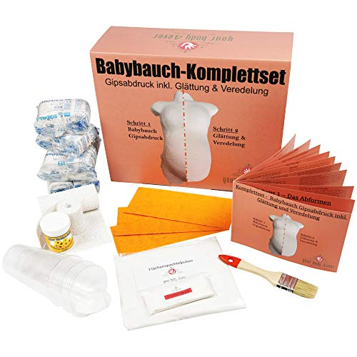 XXL-Komplettset | Babybauch Gipsabdruck-Set inkl. Glättung & Veredelung | 1A Ergebnis mit Detailanleitung + Profimaterial