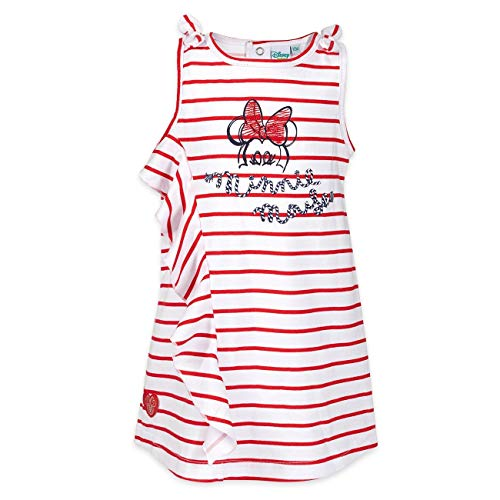 Disney Robe pour bébé fille rouge et blanc   Motif : Minnie Mouse   Robe pour bébé avec volants et rayures pour nouveau-nés & tout-petits   Taille :