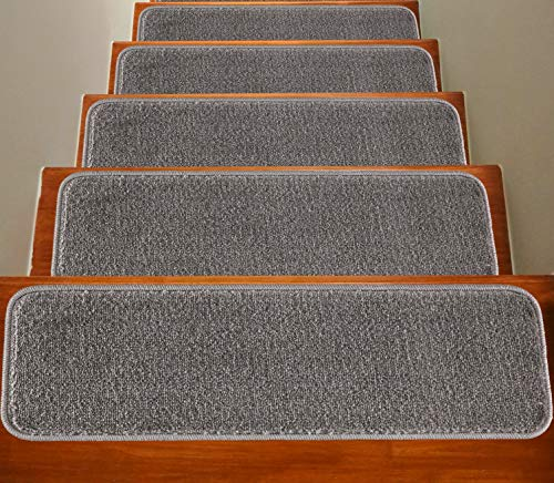 Soft Plain Carpet Stair Treads NON-SLIP MACHINE WASHABLE Mats/Rugs, 22x67cm, 11mm Thickness (Grey, 13)