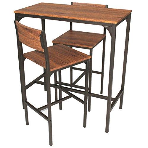 YELLOO Mod. Venice Set Tisch Bar und 2 Hocker Braun Küche Living Modern