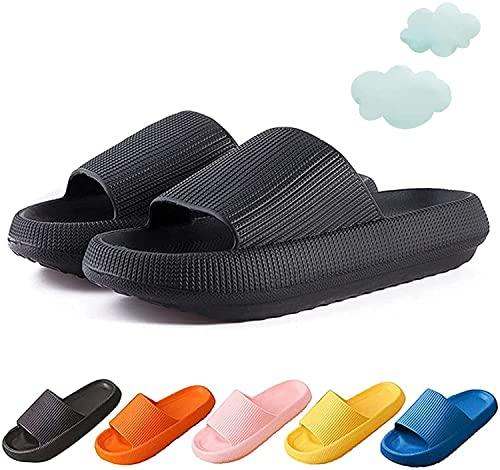 Foggs Japan Slippers, Pillow Slides Home Slippers, Non-Slip Quick Drying Soft Shower Spa Sandals (Black,10.5-11 women/9-10 Men)