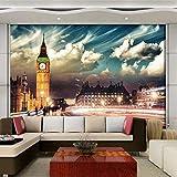 Clhhsy 部屋を飾る カスタム壁画壁紙ロンドンビッグベンシティナイト壁紙寝室用リビングルームテレビソファ背景壁家の装飾壁紙-250X175Cm
