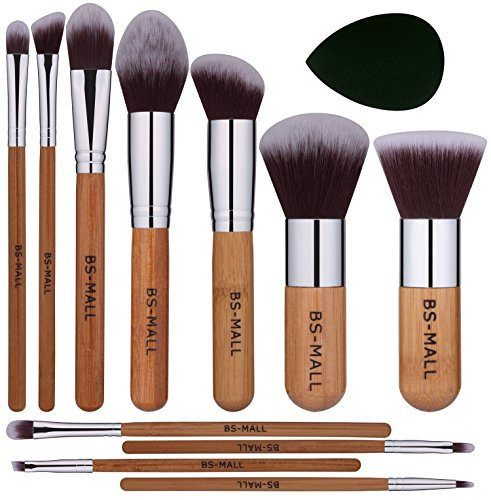 BSMALL Makeup Brush Set 11Pcs Bamboo Synthetic Kabuki Brush Set Foundation Powder Blending Concealer Eye shadows Blush Cosmetics Brushes with Organizer Bag amp Makeup Sponge