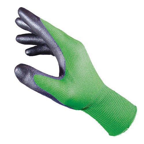 SEIZ GARDENER 200150 Naadloze fijne gebreide handschoenen, groen/zwart (pak van 10), 9, groen/zwart, 10