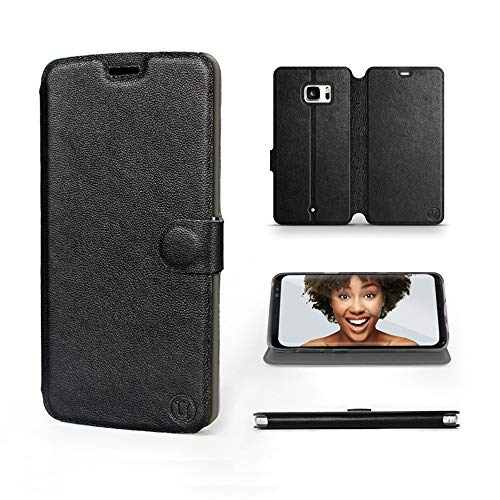 Mobiwear | Echt Lederhülle | Kompatibel mit HTC U Ultra, Made in EU handyhülle, Slim Leather Hülle, Premium Flip Schutzhülle, Transparent TPU Silicon, Book Style, Tasche - Schwarzes Leder