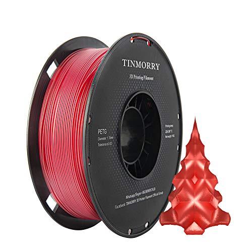 Filamento PETG 1.75mm 1kg, TINMORRY Filamento stampante 3D PETG senza groviglio Materiali di stampa 3D, 1 bobina, rosso trasparente