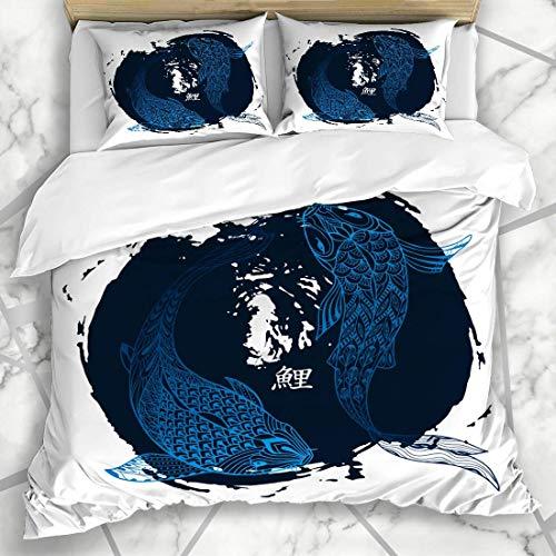Jojun Duvet Cover Sets Watercolor Yang Koi Fish Carp Abstract Yin Black Blot Brush Design Microfiber Bedding with 2 Pillow Shams Easy Care Anti-Allergic Soft Smooth