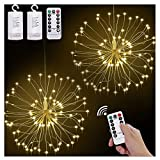 2 Pack Starburst Lights Fireworks Copper Decorative String Lights, 8 Modes Dimmable Fairy Lights with Remote Control, Bouquet Hanging Lights for Party, Home, Outdoor Decor(60 Strands/120 LED, Battery)