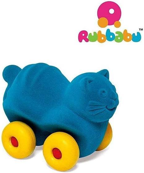 Colore Turchese R20463 Rubbabu Animale in Gomma Naturale con Ruote-Gatto 14 cm