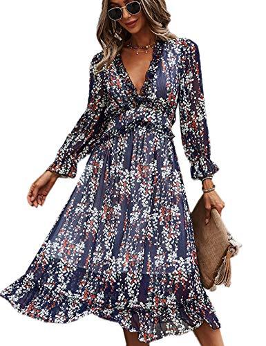 Vestido Mujer Bohemio Largo Verano Playa Fiesta Floral Manga Larga Cuello en V Maxi Vestidos Cóctel Falda Larga Vestido Swing Armada L