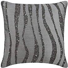 The HomeCentric Throw Pillow Cushions for Couch, Decorative Cushion Covers 45 x 45 cm Grey, Silk Throw Pillow Cushion Cove...