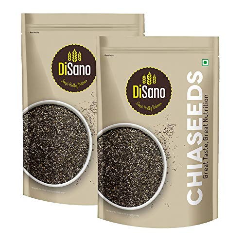DiSano Raw Unroasted Chia Seeds for Weight Loss with Omega 3 and Fiber, 500g (2 x 250gm)